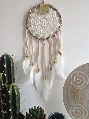 Cute Small Crochet Dream Catcher Brown/Cream/White 6cm Web 25cm Length