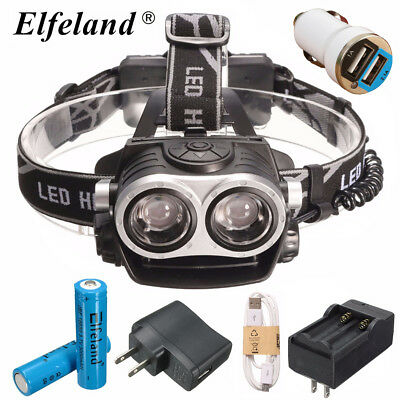 Elfeland 13000Lm 2xT6 LED Lampe Frontale Headlight Rechargeable USB Cable 18650