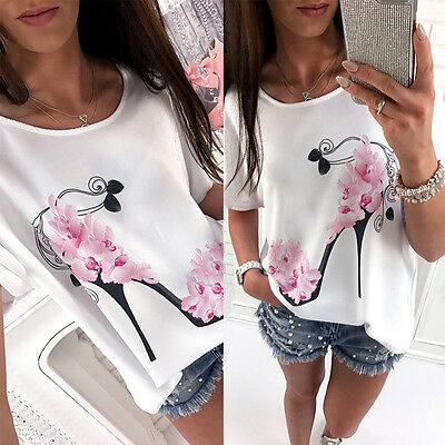 Women Ladies Casual Loose Floral Cotton Blend Tops Blouses T-shirts Summer Party