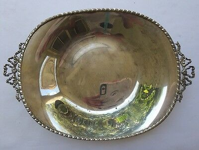 Vintage Silver Plated Oval Small Footed Serving Dish Candy Bowl Bow Italy