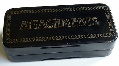 "Vintage Sewing Machine ""Attachments"" hinged tin box (Box Only)"