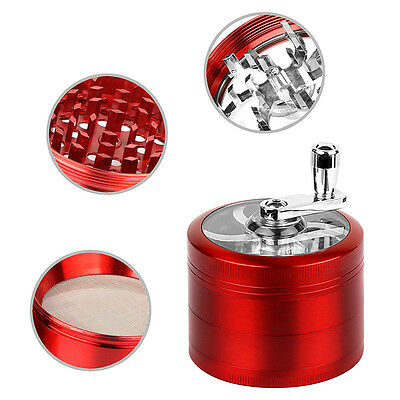 4 Piece Magnetic 2.5 Inch Red Tobacco Herb Grinder Spice Zinc Alloy With Scoop