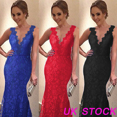 Women Wedding Bridesmaid Long Evening Formal Party Ball Prom Lace Cocktail Dress