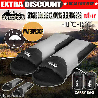 Single Double Camping Envelope Sleeping Bag Thermal Tent Hiking Winter -10°C AU