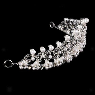 Femmes Mariage nuptiale Prom Tiara Couronne Crystal Pearl Diamante Voile