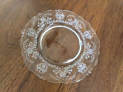 5 HEISEY ORCHID Crystal LUNCHEON Plates