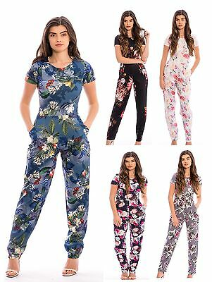 New Women's Ladies Floral Print Cap Sleeves Pocket Jumpsuit - UK Size 8-14