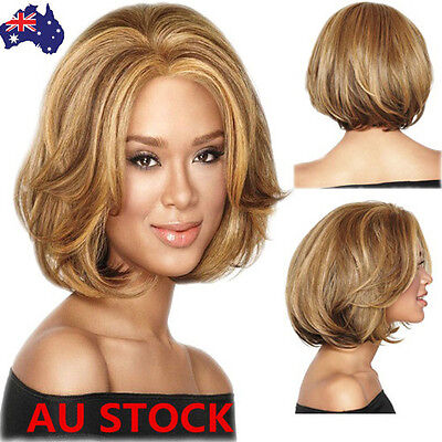 Women Short Curly Wavy Wig Light Brown Bob Hair Cosplay Anime Party Wig+ Wig Cap