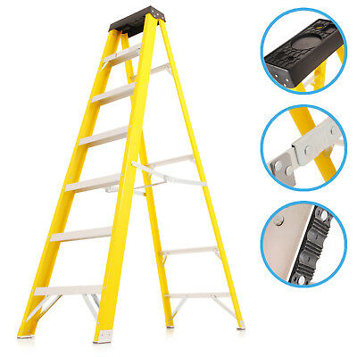 7 Tread Industrial Electrician Safety Fibre Glass Folding Step Access Ladder