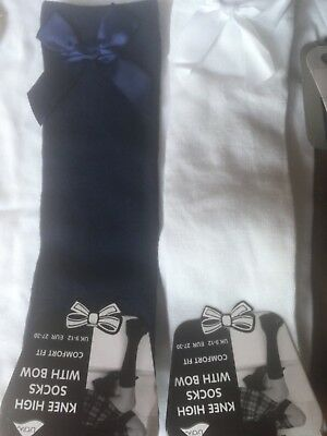 Girls Knee High Navy /white Romany Socks With Bow  Size 9/12