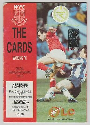 Woking V Hereford United 1992 Programme Hand Signed 17 X Sigs Incl Tim Buzagley