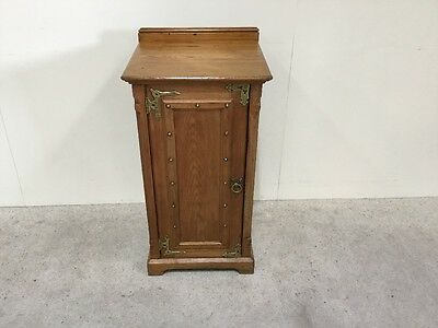 Victorian Arts And Crafts Bedside Cabinet With Brass Stud Work To Front
