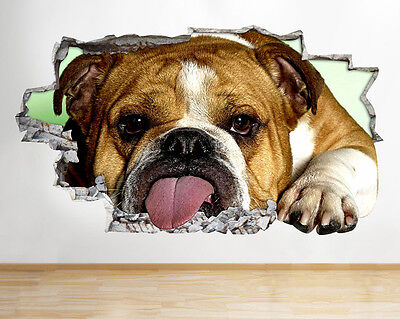 Wall Stickers Bull Dog Animal Funny Living Smashed Decal 3D Art Vinyl Room C125