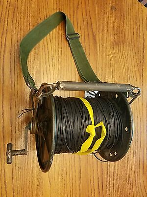 spool of military field telephone communication com wire with reel DR-8-A RL-39B