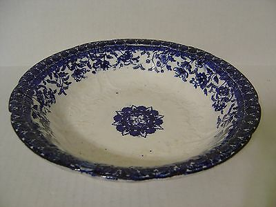 Vintage Early Semi Porcelain Flow Blue Bowl With Anchor Mark Dated 1913