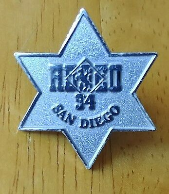 San Diego Rodeo Silver colored Sheriff police Badge 94 event lapel pin...