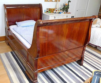 Vintage French style Antique Mahogany Childs Childrens Kids Small Sleigh Bed