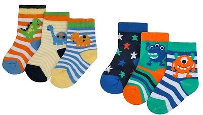 3 Pairs Boys Socks Dinosaurs/monsters 0-0,0-2 1/2,3-5 1/2 Cotton Rich