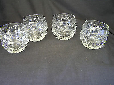 4 Anchor Hocking Lido Milano Roly Poly CLEAR  Round Glasses