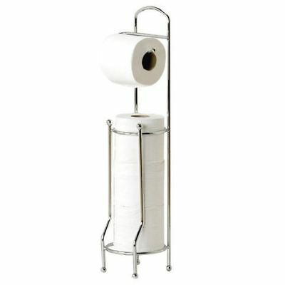 New Free Standing Toilet Roll Holder Chrome Paper Tissue Storage Dispenser Stand