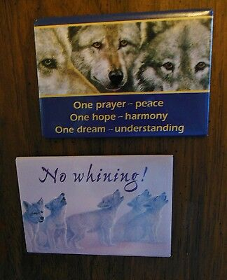 WOLF WOLVES ~~ 2 VINTAGE MAGNETS from LEANIN' TREE ~~ ONE PRAYER & NO WHINING