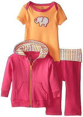 Yoga Sprout Baby-Girls 3 Piece Elephant Hoodie Bodysuit and Pant Set, Pink 0-3