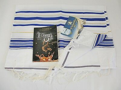 "Talitnia/Talis Prayer Shawl 24""x72"" Blue/Gold/White plus Book - The King's Oil"