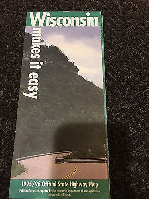 Vintage Wisconsin Highway Map 1995 1996 Road Atlas Folded USA EUC Official