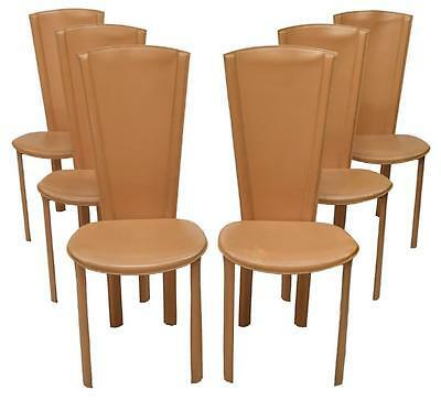 Set Of Six Italian Mid Century Dining Chairs, Cidue Style