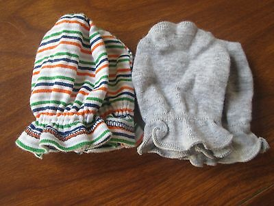 Gerber Baby Girl Boy Unisex Mittens Hand Covers Gray Stripes Two Pairs 0- 3 M