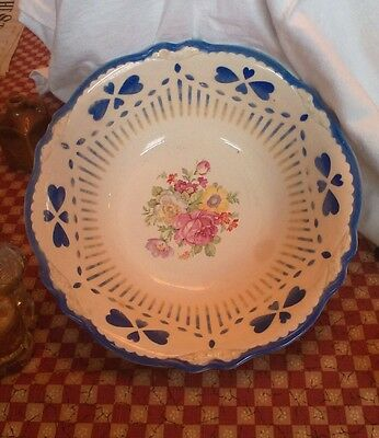 Homer Laughlin Peony Rose 140N8 USA 9.5inch bowl blue clover