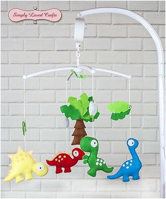 Perfect Gift for Baby Handmade felt baby nursery mobile with dinosaurs.