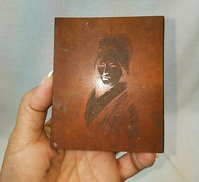 Antique Copper Printing Plate on Wood Block woman Wearing bonnet