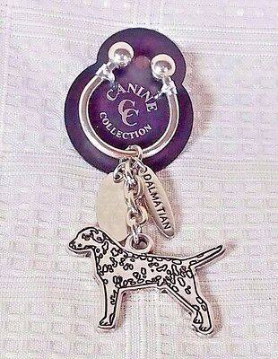 Canine Collection Silver Plated DALMATIAN Dog Key Chain Ring NEW
