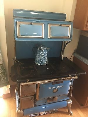 Antique Sears Roebuck Royal Blue Cast Iron Wood Burning Kitchen Stove