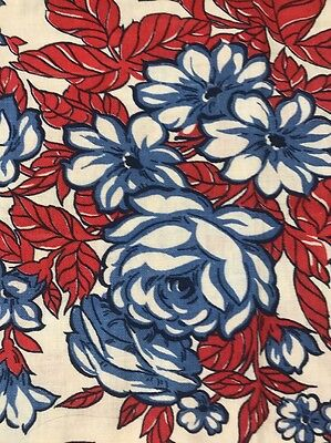 Vintage Feed/Flour Sack Quilt Fabric 38x18 (2FQ's) Red&Blue Large Floral Rare
