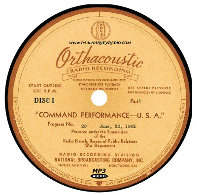 Command Performance (300 Shows) Old Time Radio Mp3 8 Cd's