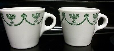 Set of 2 Syracuse China Heavy Weight Mugs Cups. St. Elmo Green Scroll Pattern