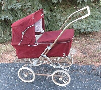 Antique Vintage Hedstrom Red Corduroy Buggy Baby Carriage
