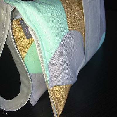 Nappy Clutch/ diaper wallet in Grey, Gold, Mint scales