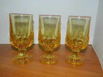3 Vintage Franciscan Cabaret heavy yellow glass goblets Lotus style 6 3/4'' tall