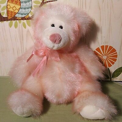 Russ Berrie Company Taffie Pink Sparkly Bear Plush Stuffed 10 Inches