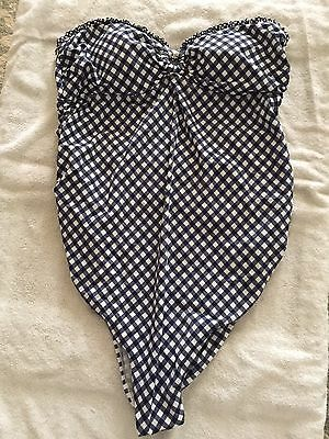 Motherhood Maternity XL Blue White Checkered Strapless One Piece Bathing Suit