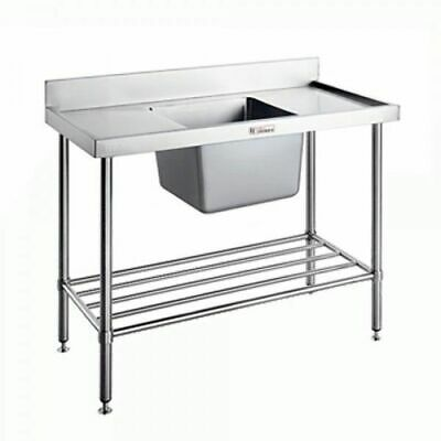 Single Sink Centre Bowl w Pot Rail & Splashback 1500x600x900mm Simply Stainless