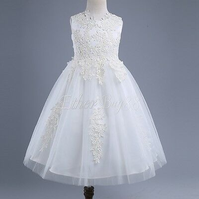 Flower Girl White Lace Tulle Dress Wedding Easter Party Formal Pageant Communion
