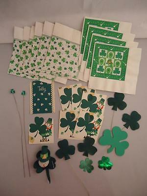 Vtg St Patrick's Day Leprechaun Hallmark Napkins Party Decorations Cards Picks