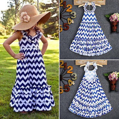 AU Kids Baby Girls Wave Stripe Boho Dress Holiday Skirt Long Maxi Sundress 3-10Y