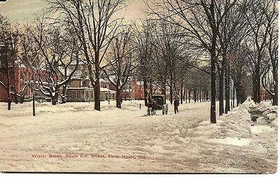 SP Vintage Postcard Terre Haute Indiana Winter Scene South 6th Street