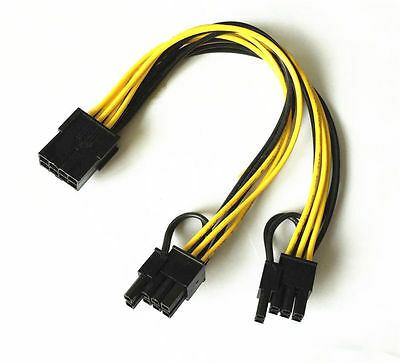 18AWG PCI-E 8pin to Dual 8-pin Y-Splitter Extension Cable 8pin-2x(6+2pin) Cable