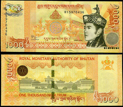 Bhutan 1000 1,000 Ngultrum 2016 P 34 New Sign And Security Tab Unc